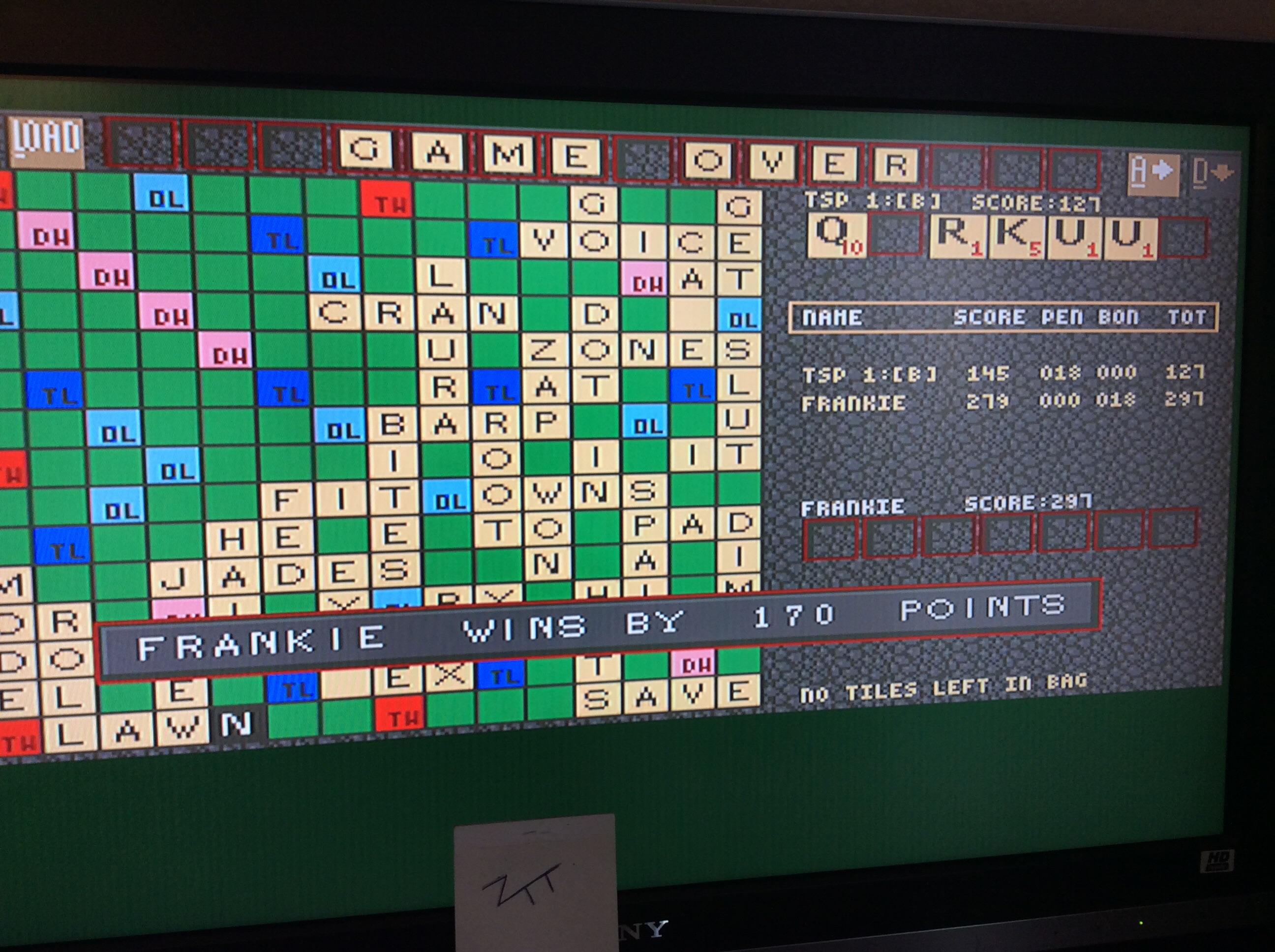 Frankie: Scrabble [TSP Level: B][U.S. Gold] (Amiga) 170 points on 2016-10-29 01:44:38