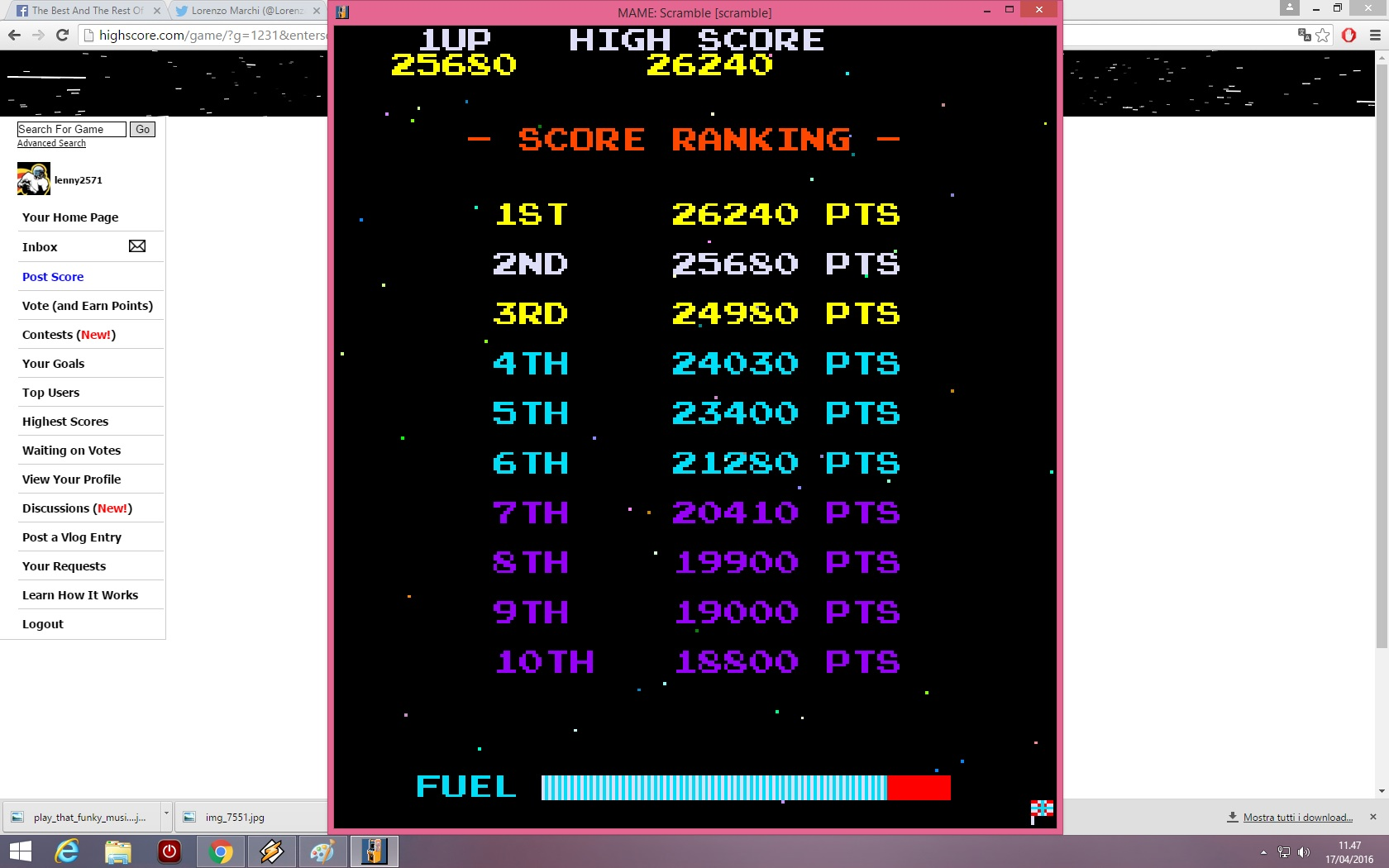 lenny2571: Scramble (Arcade Emulated / M.A.M.E.) 25,680 points on 2016-04-17 04:48:28