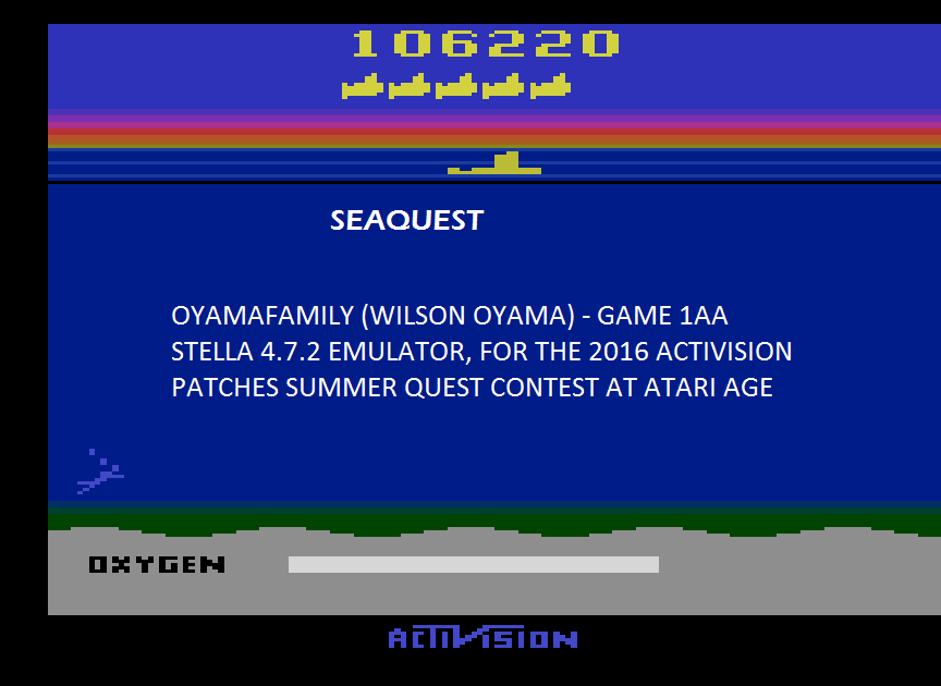 oyamafamily: Seaquest (Atari 2600 Emulated Expert/A Mode) 106,220 points on 2016-06-25 19:29:57