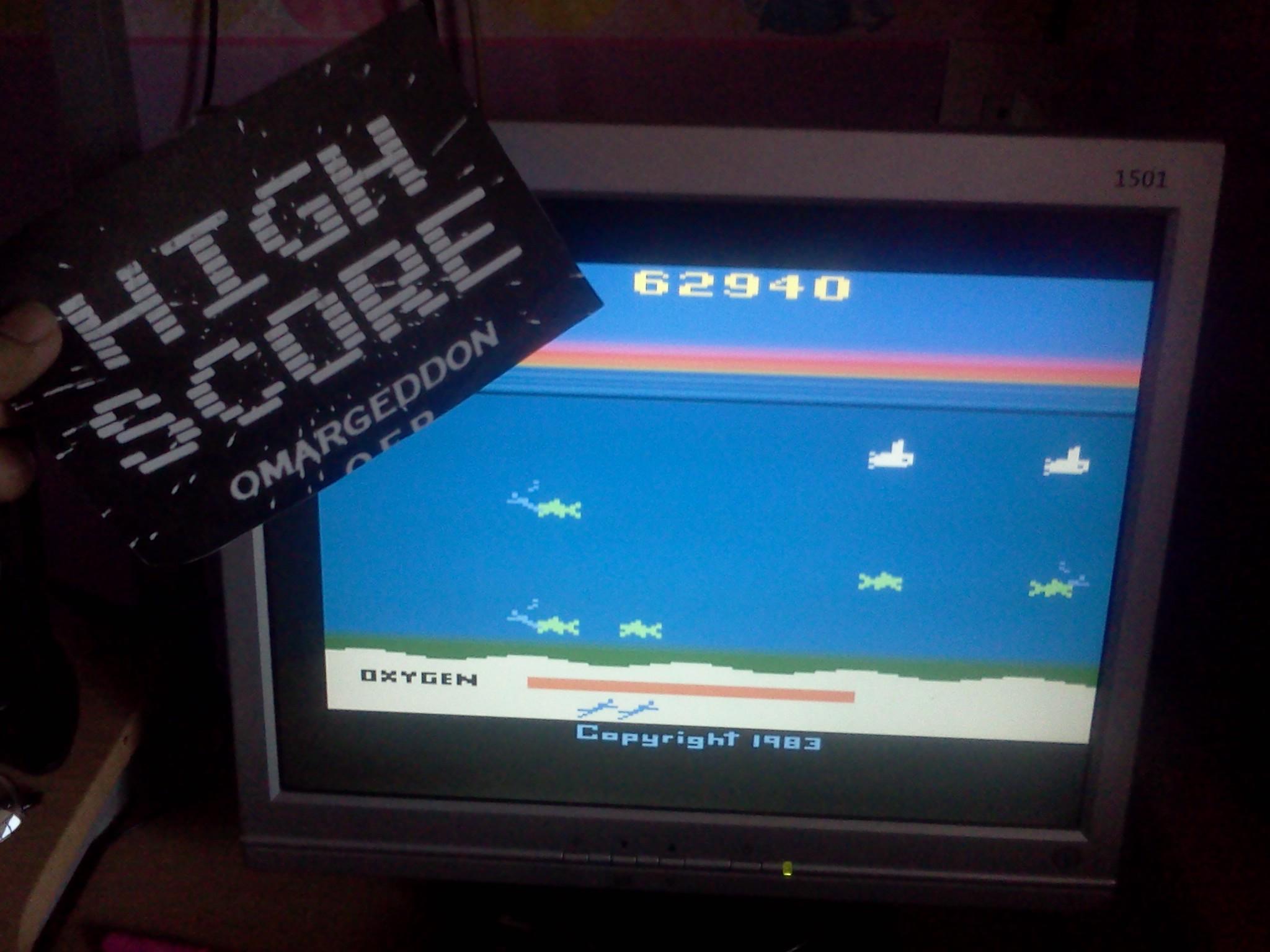 omargeddon: Seaquest (Atari 2600 Emulated Novice/B Mode) 62,940 points on 2016-08-31 16:58:53