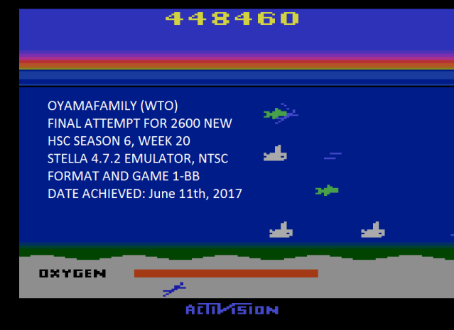 oyamafamily: Seaquest (Atari 2600 Emulated Novice/B Mode) 448,460 points on 2017-07-30 19:57:37