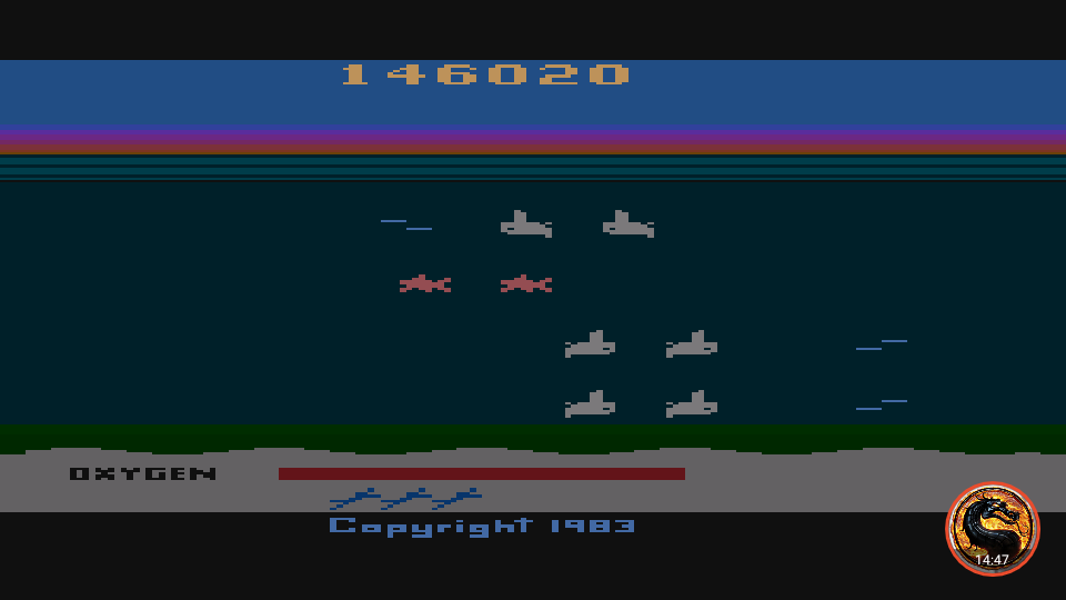 omargeddon: Seaquest: Game 1 (Atari 400/800/XL/XE Emulated) 146,020 points on 2019-02-14 23:45:55
