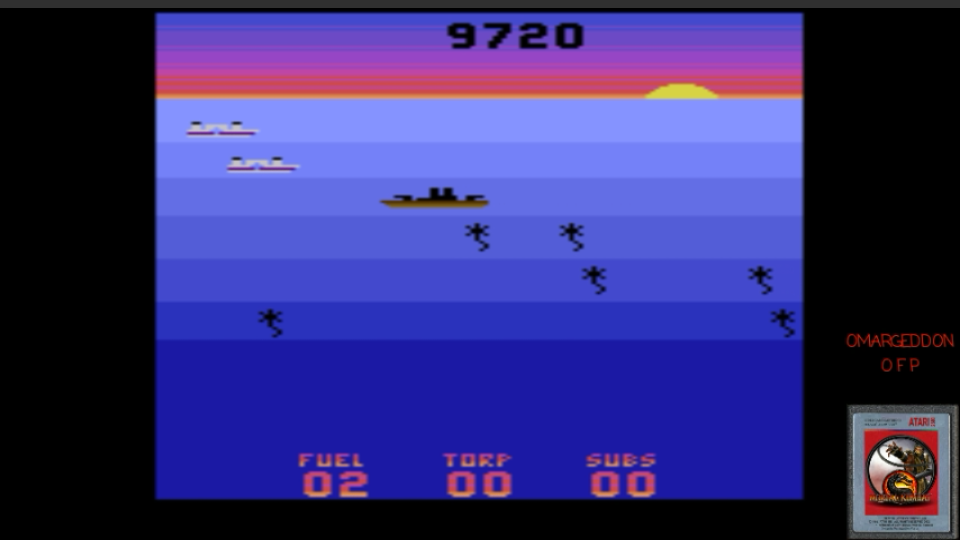omargeddon: Seawolf (Atari 2600 Emulated Novice/B Mode) 9,720 points on 2017-03-21 00:24:27