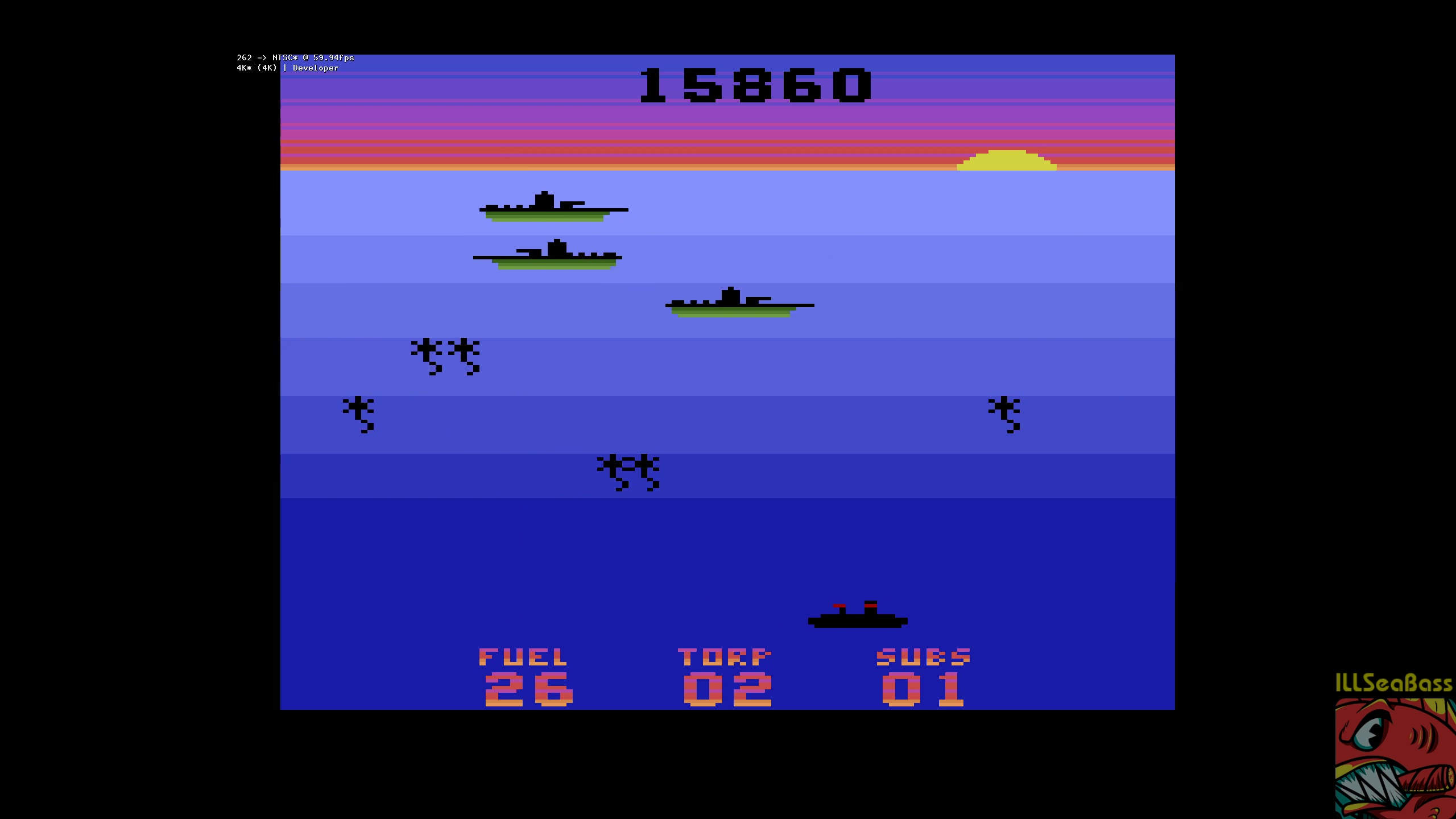 ILLSeaBass: Seawolf (Atari 2600 Emulated Novice/B Mode) 15,860 points on 2018-05-18 00:07:15