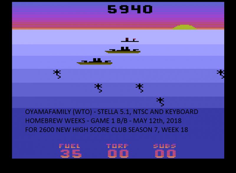 oyamafamily: Seawolf (Atari 2600 Emulated Novice/B Mode) 5,940 points on 2020-04-05 13:01:30