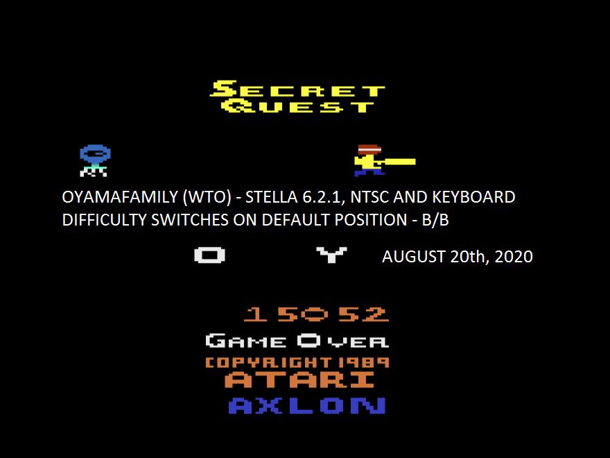 oyamafamily: Secret Quest (Atari 2600 Emulated Novice/B Mode) 15,052 points on 2020-08-20 11:11:01