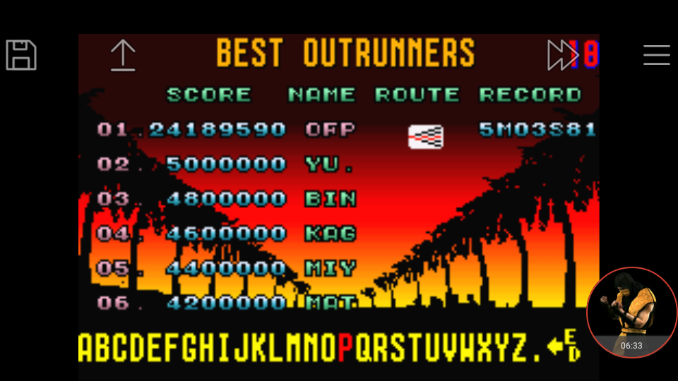 omargeddon: Sega Arcade Gallery: Outrun (GBA Emulated) 24,189,590 points on 2018-01-02 14:07:23