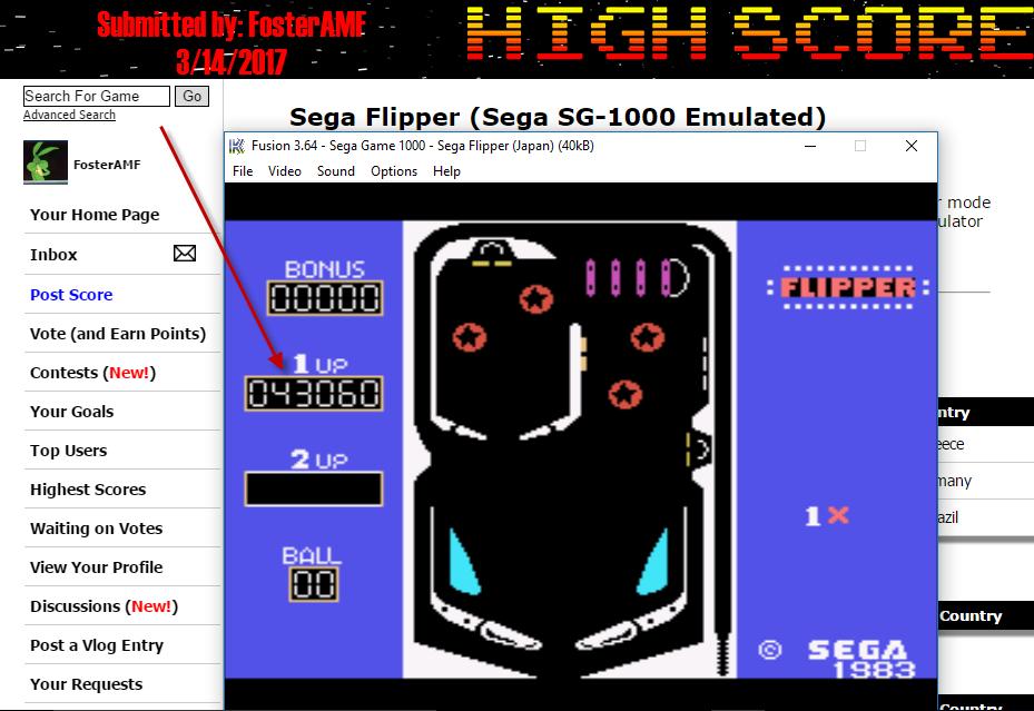 FosterAMF: Sega Flipper (Sega SG-1000 Emulated) 43,060 points on 2017-03-14 18:18:54