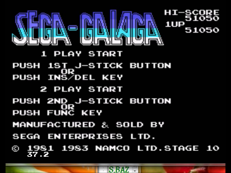 S.BAZ: Sega-Galaga (Sega SG-1000 Emulated) 51,050 points on 2016-04-06 03:37:06