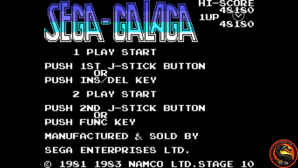 omargeddon: Sega-Galaga (Sega SG-1000 Emulated) 48,180 points on 2020-02-07 22:22:53