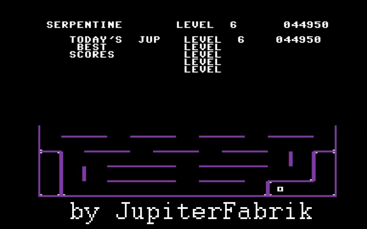 JupiterFabrik: Serpentine (Commodore 64 Emulated) 44,950 points on 2015-10-10 02:54:04