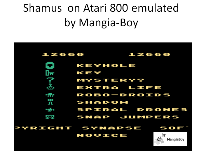 MangiaBoy: Shamus (Atari 400/800/XL/XE Emulated) 12,660 points on 2016-02-29 13:07:38