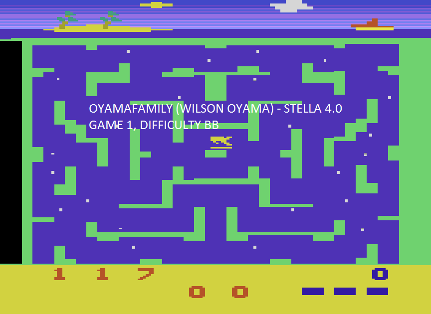 oyamafamily: Shark Attack  (Atari 2600 Emulated Novice/B Mode) 117 points on 2015-08-16 12:50:21