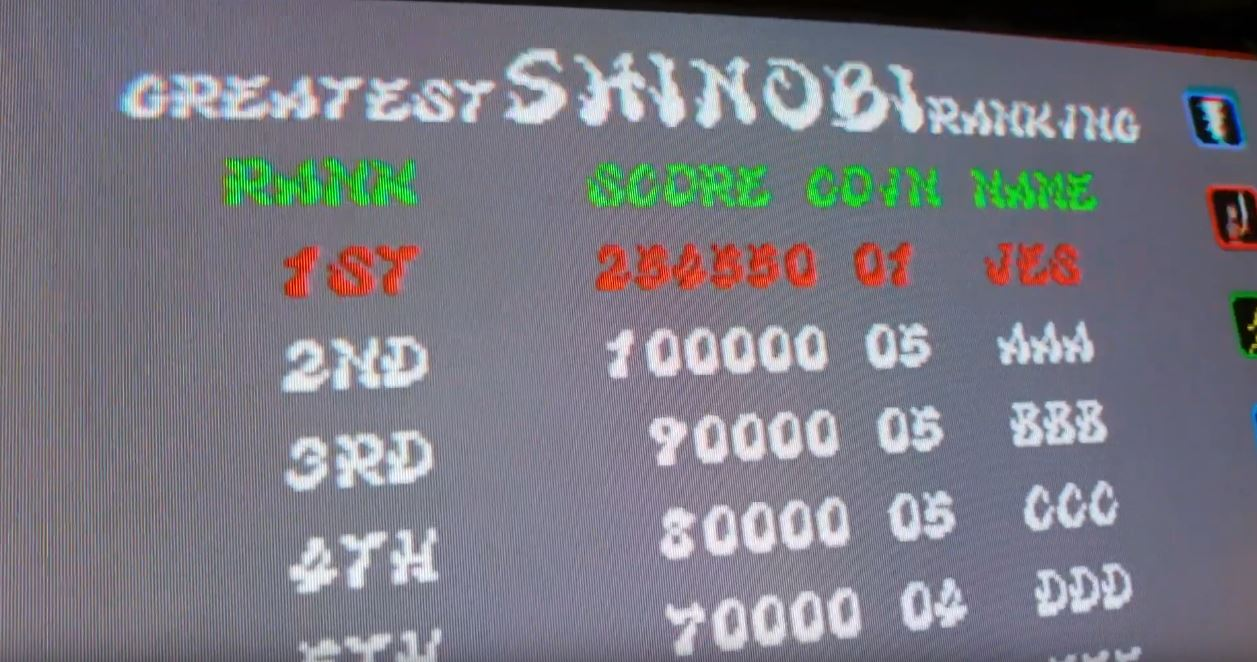 JES: Shinobi (Arcade Emulated / M.A.M.E.) 254,550 points on 2019-08-06 20:25:52