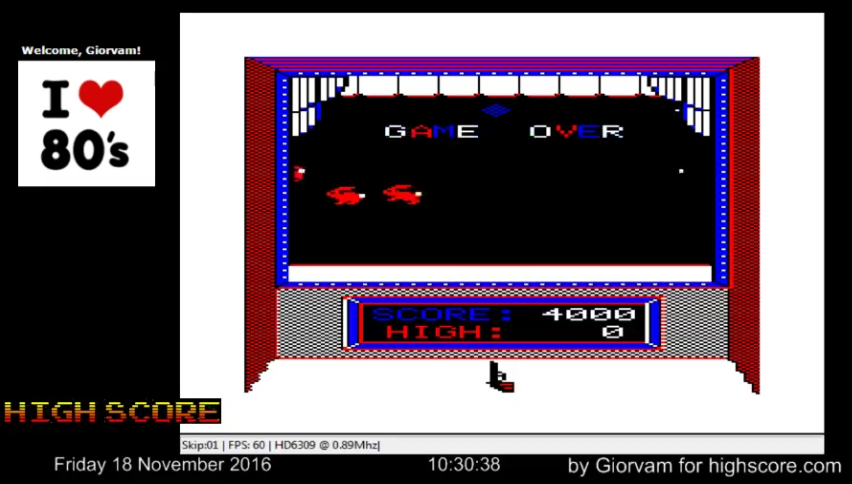 Giorvam: Shooting Gallery (TRS-80 CoCo Emulated) 4,000 points on 2016-11-18 02:40:58