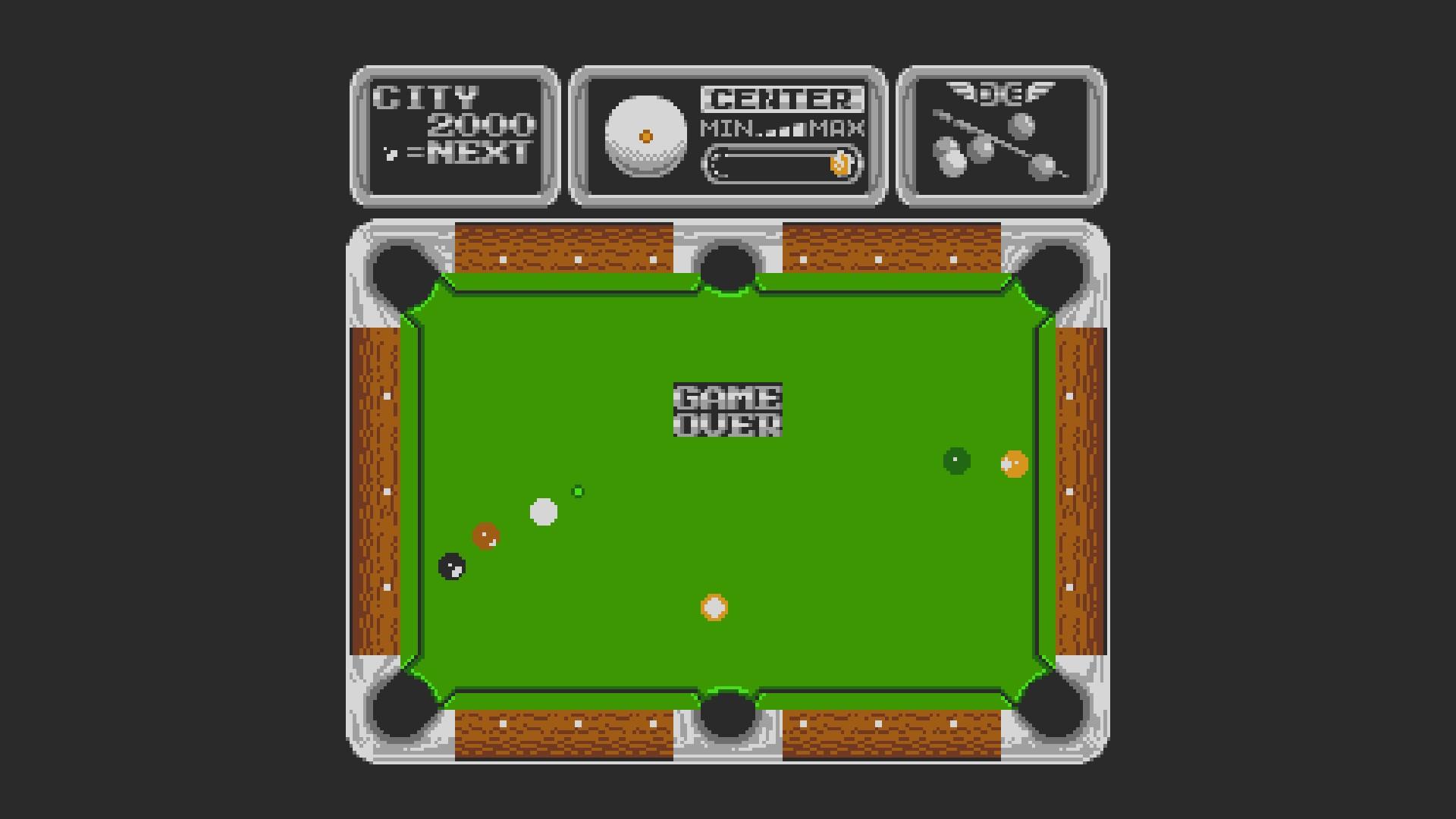 AkinNahtanoj: Side Pocket (NES/Famicom Emulated) 2,000 points on 2020-08-24 16:57:56