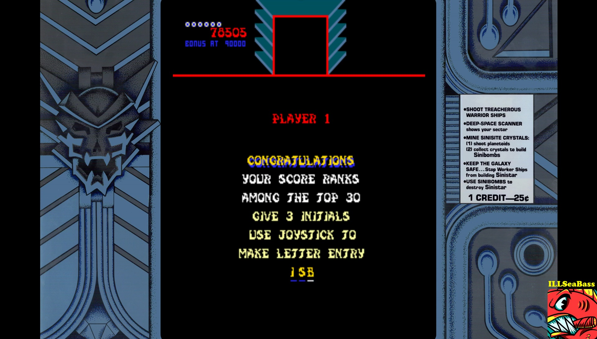ILLSeaBass: Sinistar (Arcade Emulated / M.A.M.E.) 78,505 points on 2017-05-20 23:37:29