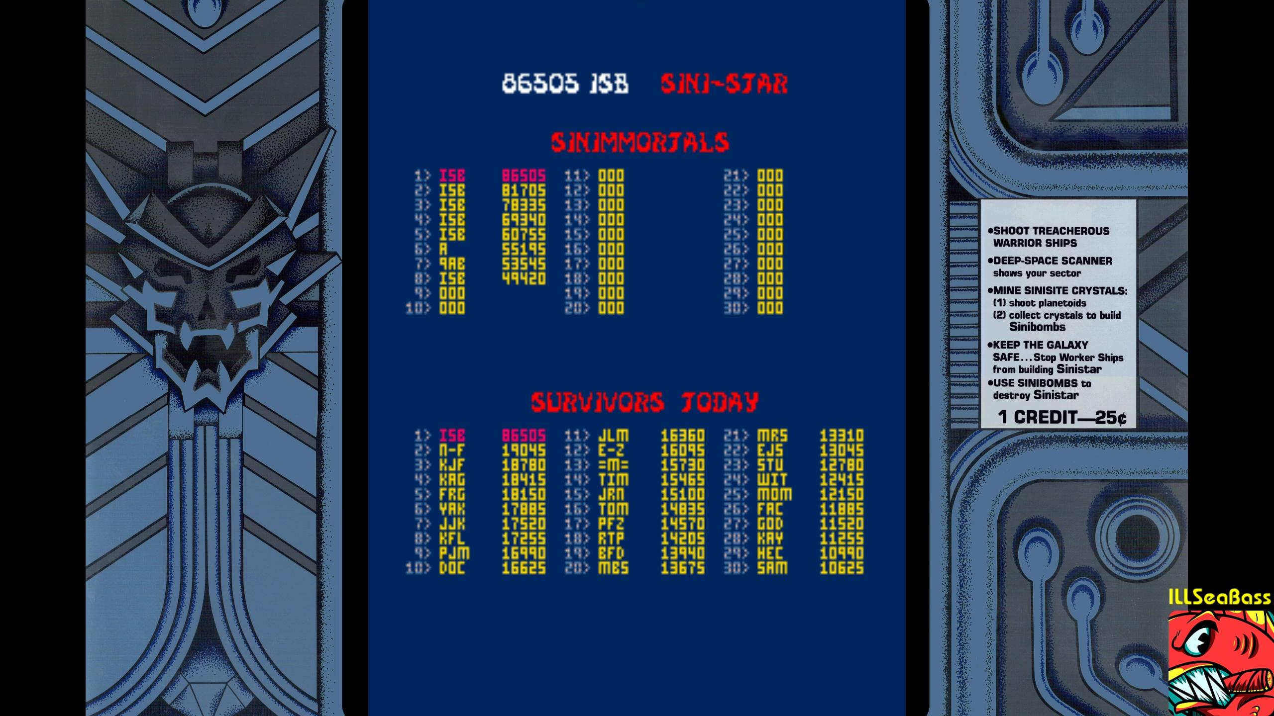 ILLSeaBass: Sinistar (Arcade Emulated / M.A.M.E.) 86,505 points on 2018-02-07 23:35:01