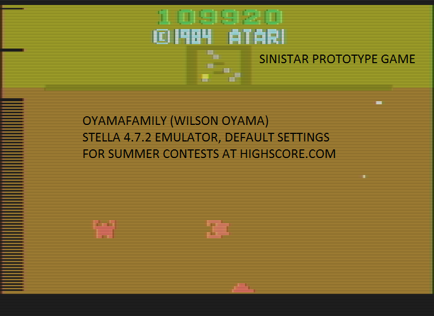 oyamafamily: Sinistar (Atari 2600 Emulated) 109,920 points on 2016-07-30 20:24:44