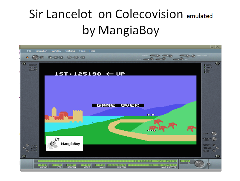 MangiaBoy: Sir Lancelot (Colecovision Emulated) 125,190 points on 2016-11-22 10:08:50