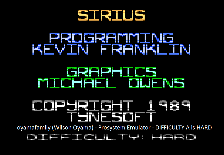 oyamafamily: Sirius: Difficulty A (Atari 7800 Emulated) 10,325 points on 2015-08-15 19:31:26