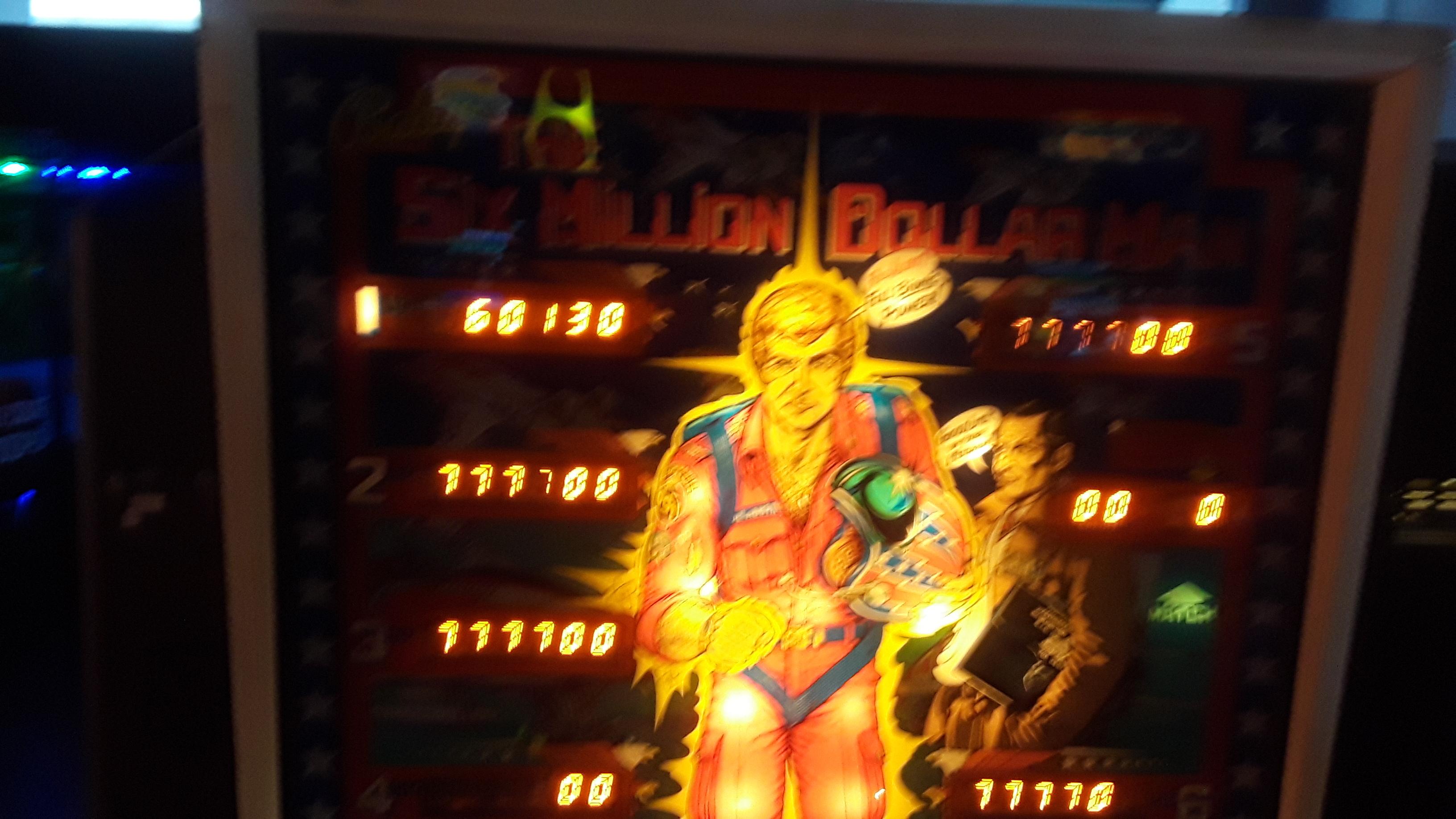JML101582: Six Million Dollar Man (Pinball: 3 Balls) 60,130 points on 2020-02-21 15:29:02