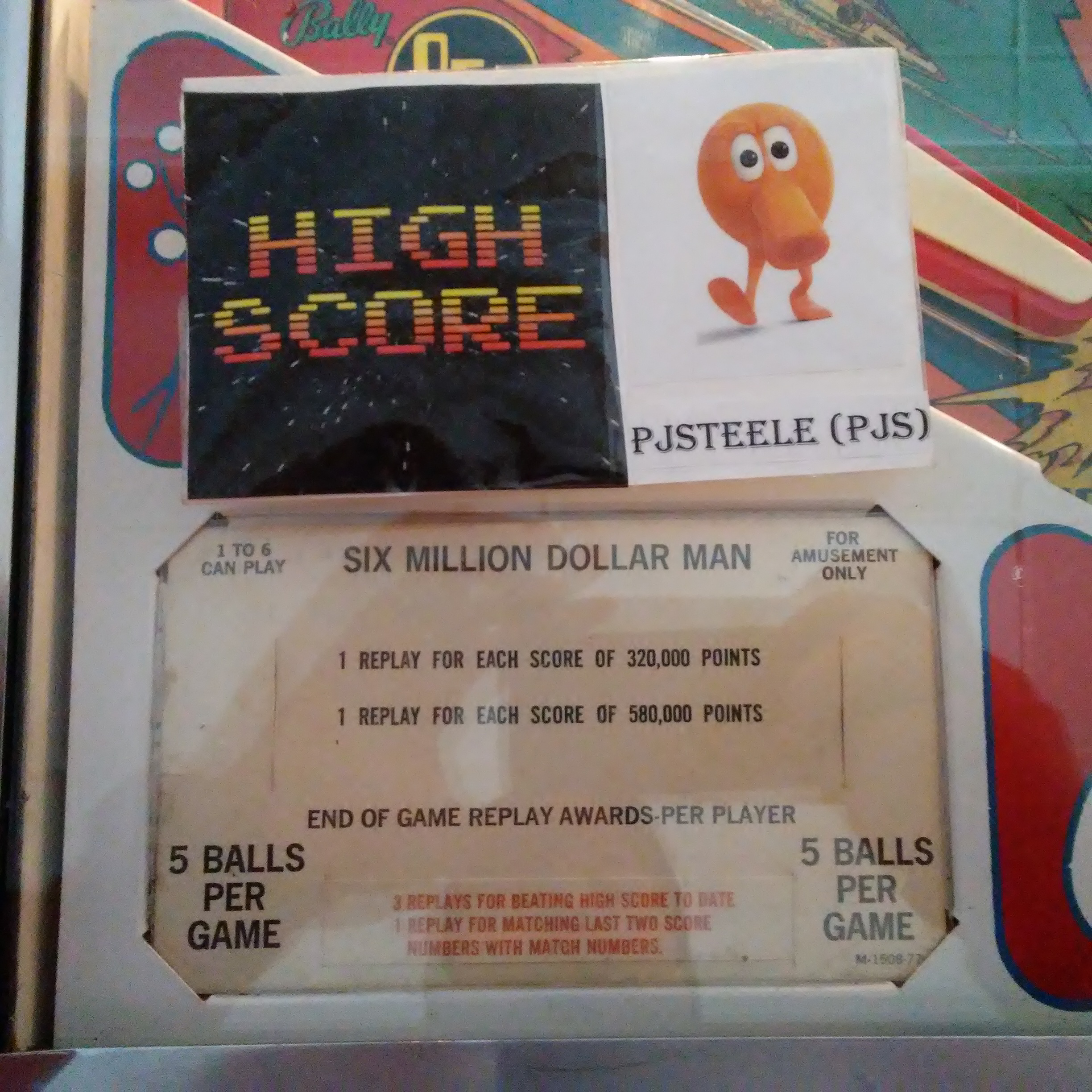 Pjsteele: Six Million Dollar Man (Pinball: 5 Balls) 43,190 points on 2018-01-01 10:36:43