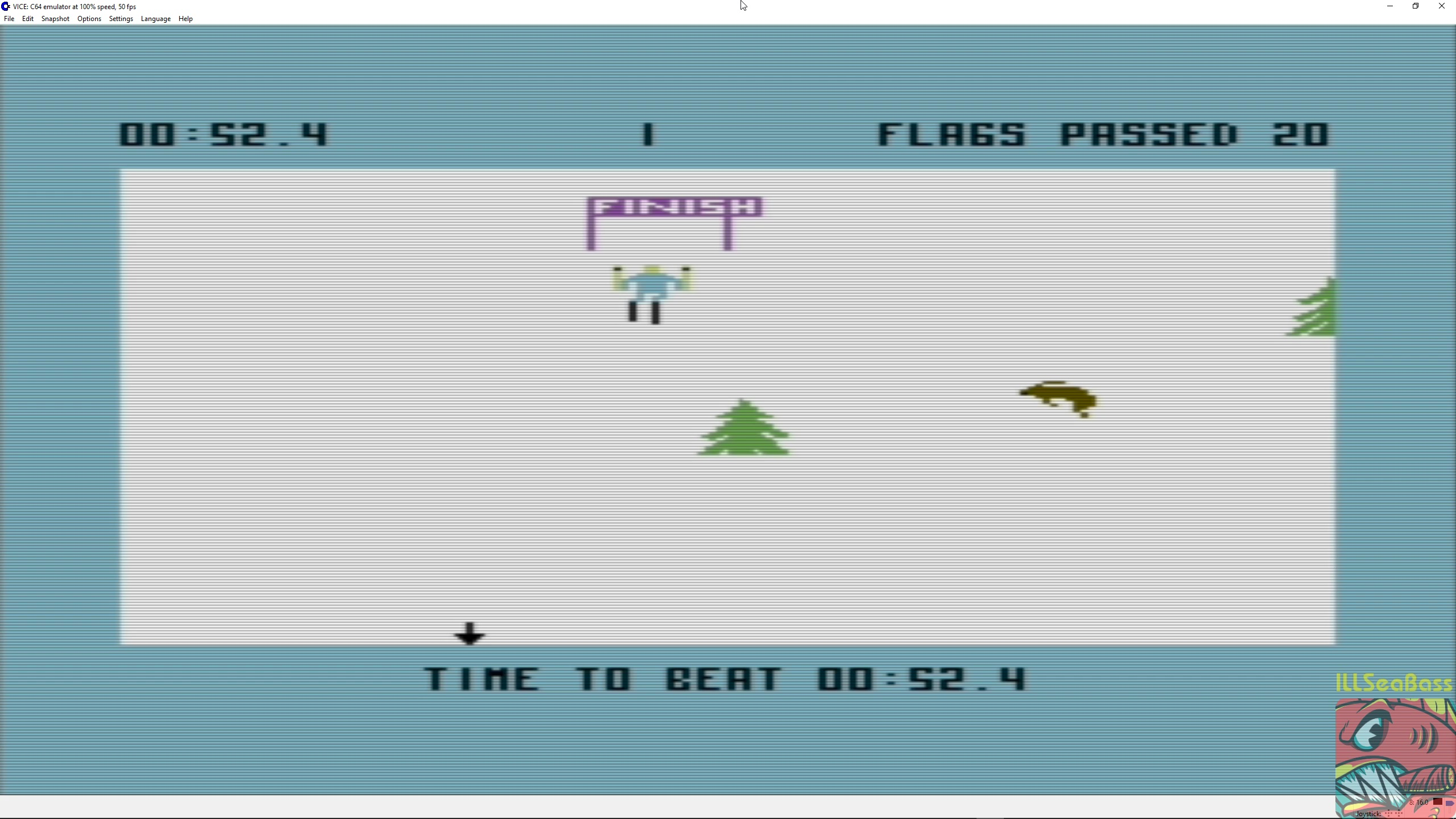 ILLSeaBass: Ski Devil [Course 1] (Commodore 64 Emulated) 0:00:52.4 points on 2018-03-13 00:50:07