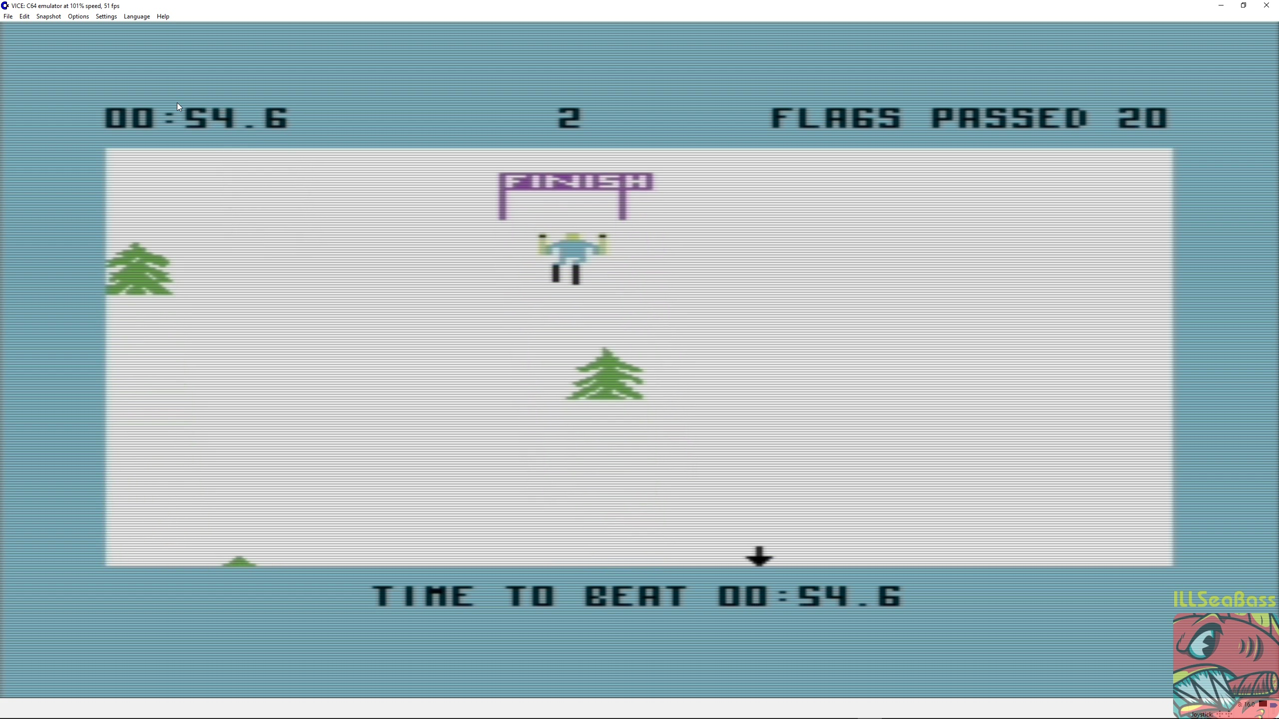 ILLSeaBass: Ski Devil [Course 2] (Commodore 64 Emulated) 0:00:54.6 points on 2018-03-15 22:59:15
