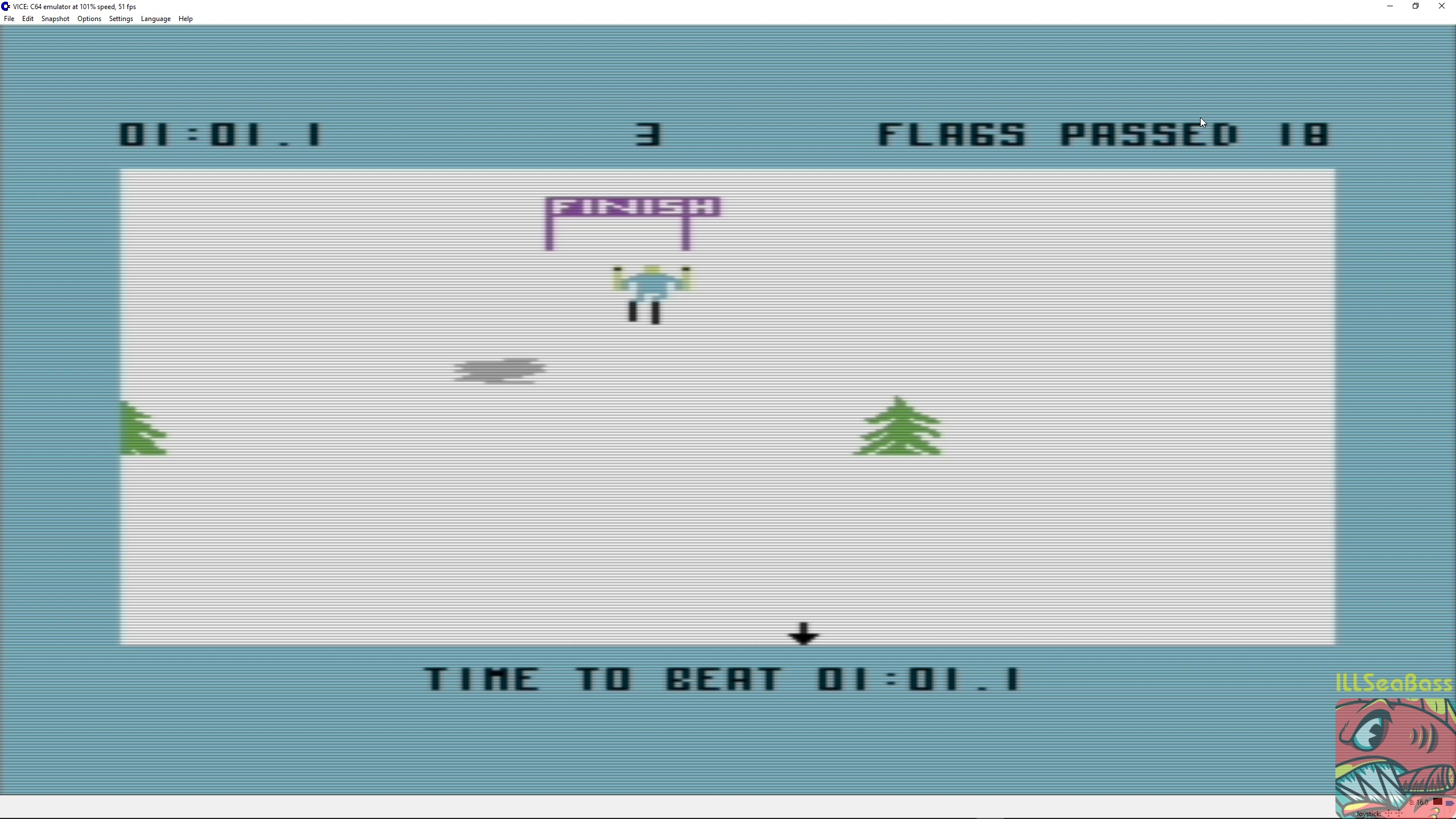 ILLSeaBass: Ski Devil [Course 3] (Commodore 64 Emulated) 0:01:01.1 points on 2018-03-17 00:44:50