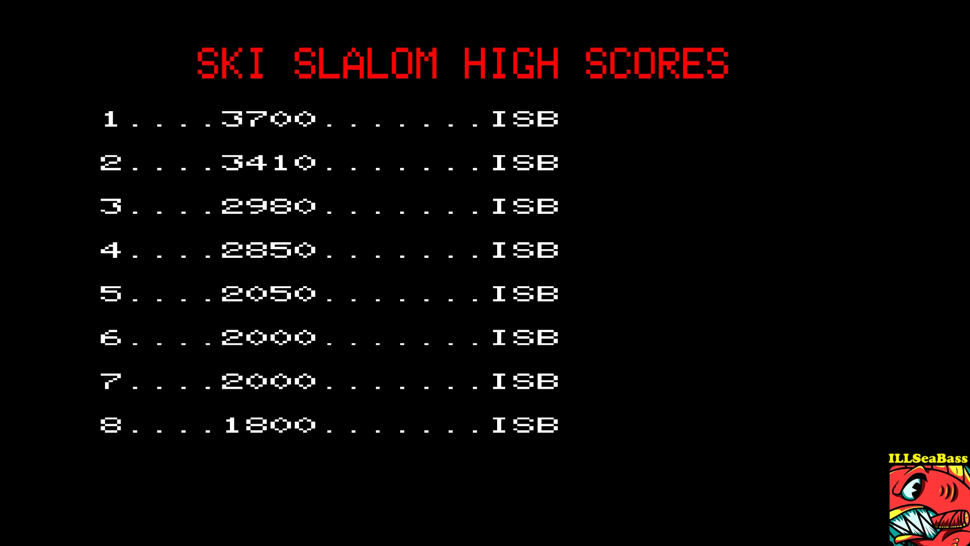 ILLSeaBass: Ski Slalom (BBC Micro Emulated) 3,410 points on 2017-10-08 22:32:38
