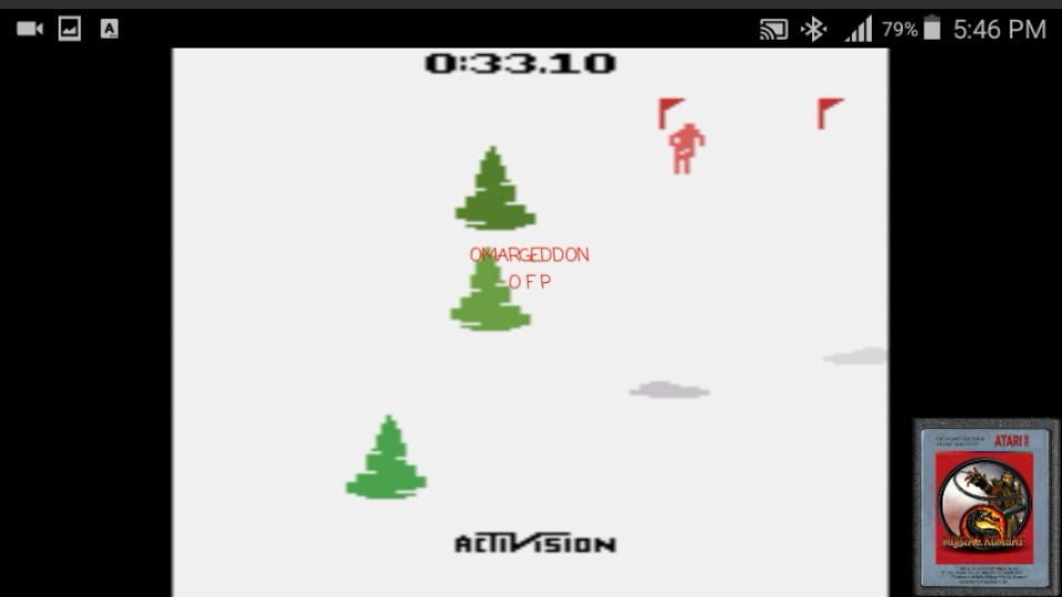 omargeddon: Skiing: Game 1 (Atari 2600 Emulated Novice/B Mode) 0:00:33.1 points on 2017-02-06 23:20:07