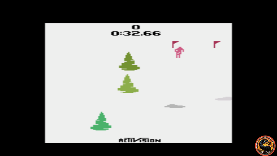 omargeddon: Skiing: Game 1 (Atari 2600 Emulated Novice/B Mode) 0:00:32.66 points on 2019-09-21 12:38:53