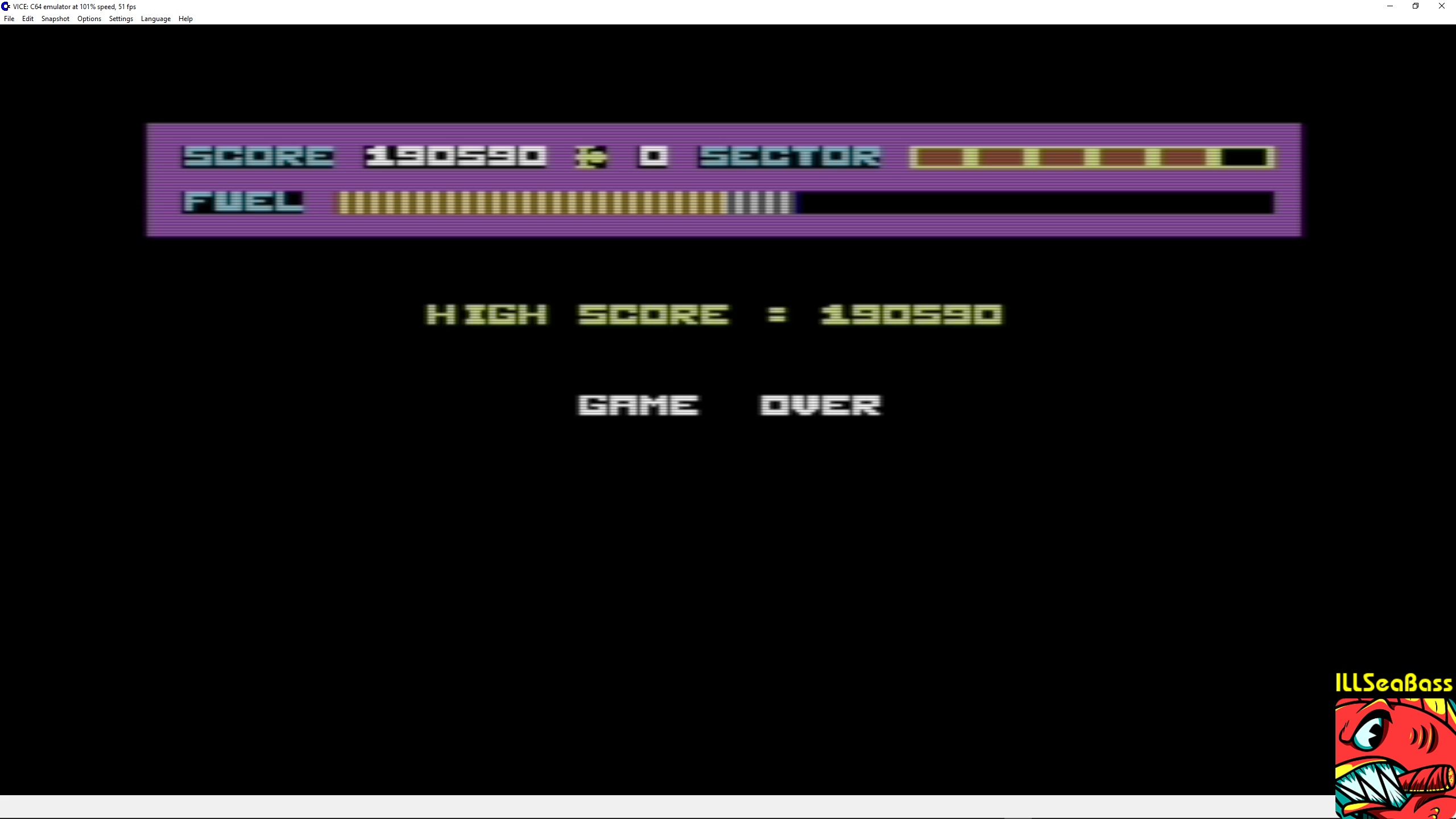 ILLSeaBass: Skramble [Anirog Software] (Commodore 64 Emulated) 190,590 points on 2018-02-25 00:31:48