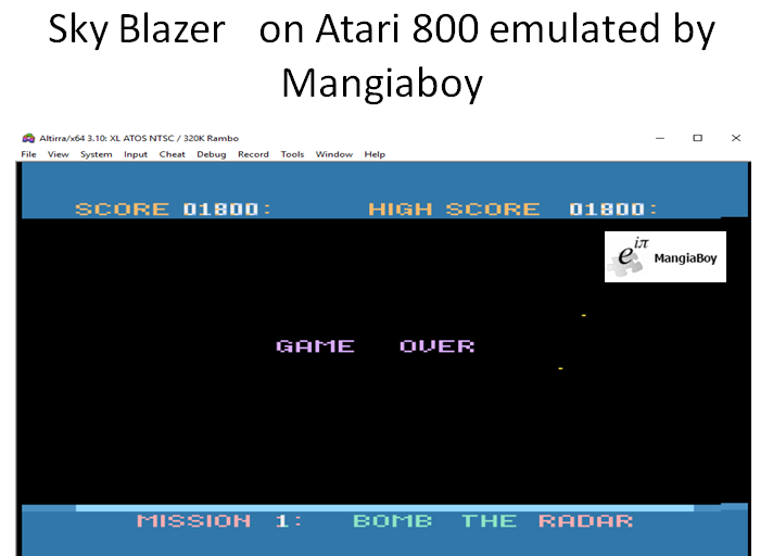 MangiaBoy: Sky Blazer (Atari 400/800/XL/XE Emulated) 1,800 points on 2018-12-28 20:41:23