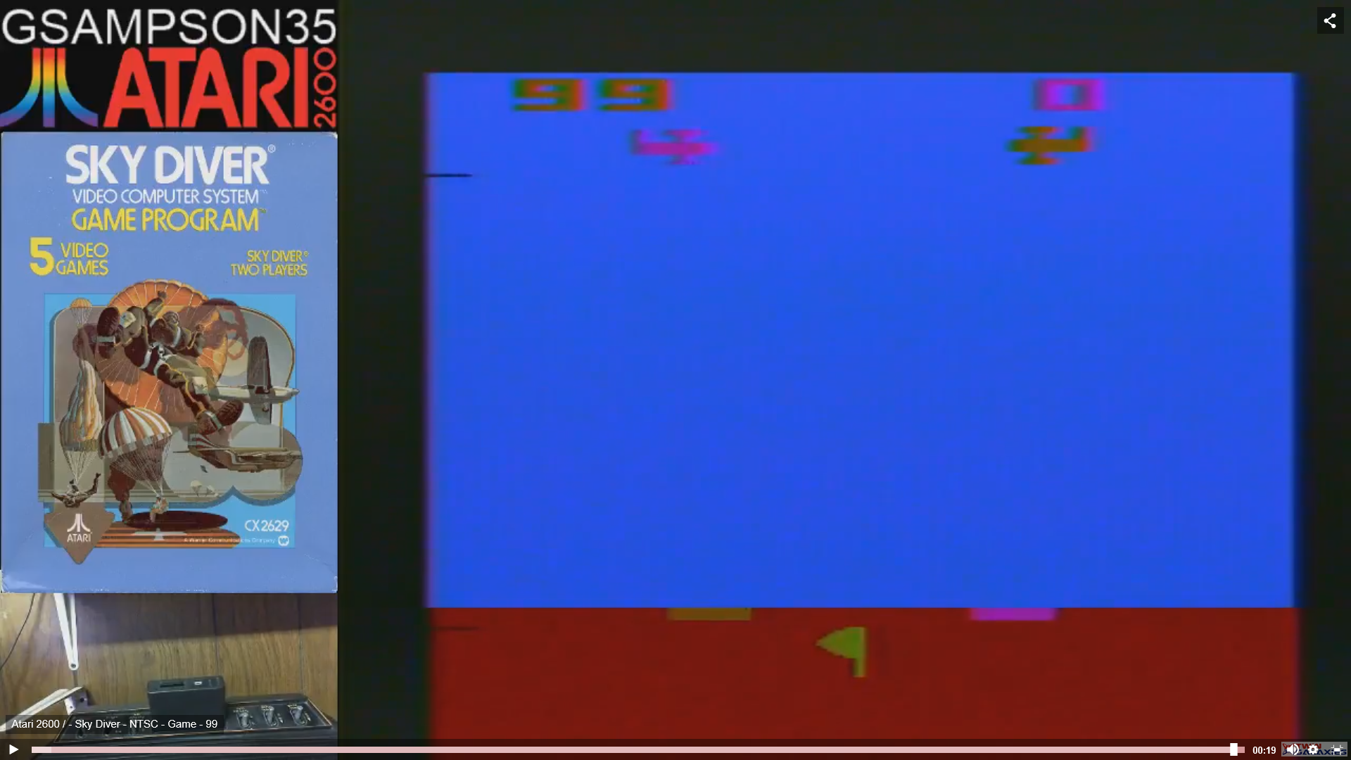 gsampson35: Sky Diver (Atari 2600 Novice/B) 99 points on 2019-02-10 04:24:36