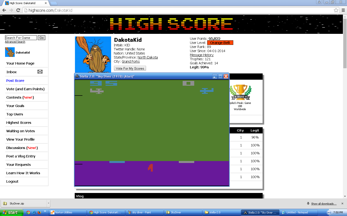 DakotaKid: Sky Diver (Atari 2600 Emulated Novice/B Mode) 95 points on 2015-09-10 19:51:01