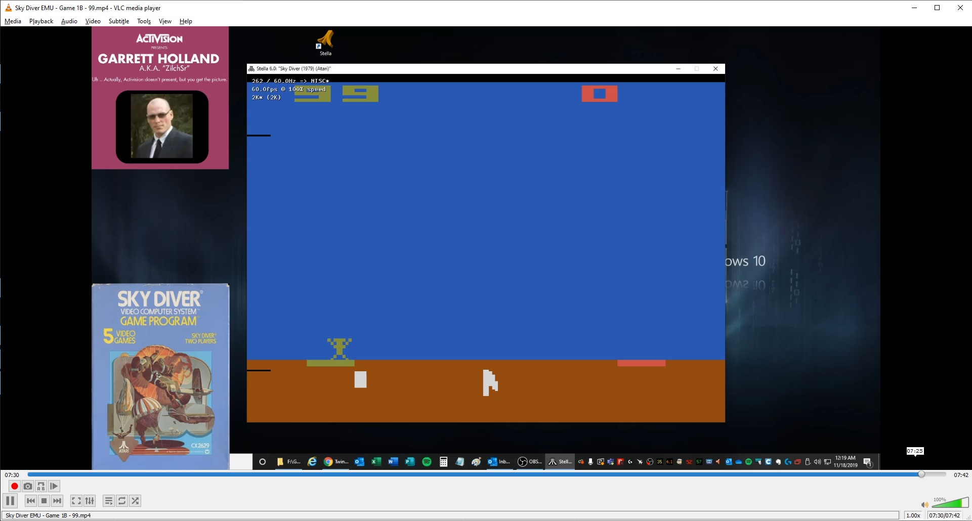 ZilchSr: Sky Diver (Atari 2600 Emulated Novice/B Mode) 99 points on 2019-11-20 22:26:39