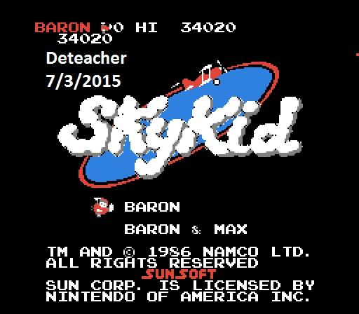Deteacher: Sky Kid: Baron (NES/Famicom Emulated) 34,020 points on 2015-07-03 20:19:19
