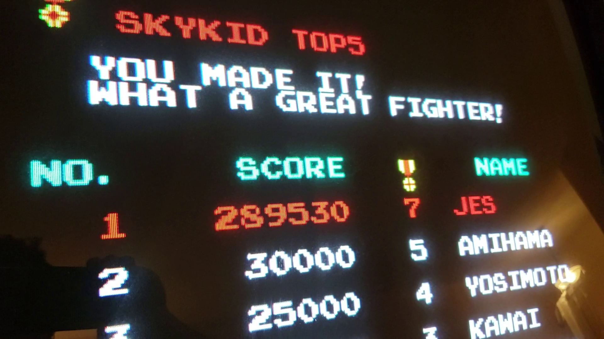 JES: Sky Kid [skykid] (Arcade Emulated / M.A.M.E.) 289,530 points on 2019-06-16 23:21:38