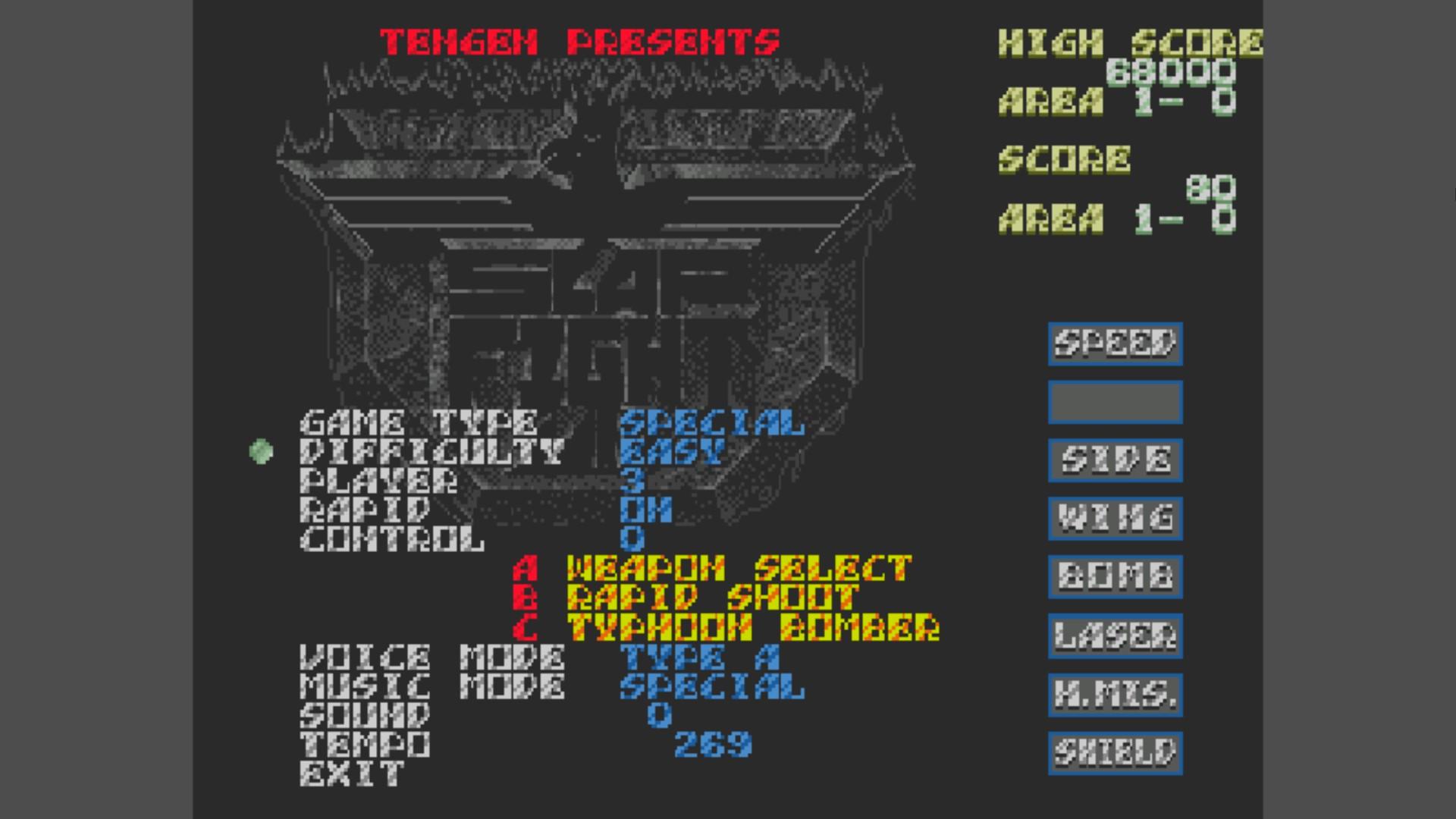 AkinNahtanoj: Slap Fight [Type Special] [Easy] (Sega Genesis / MegaDrive Emulated) 41,320 points on 2020-10-26 14:57:36
