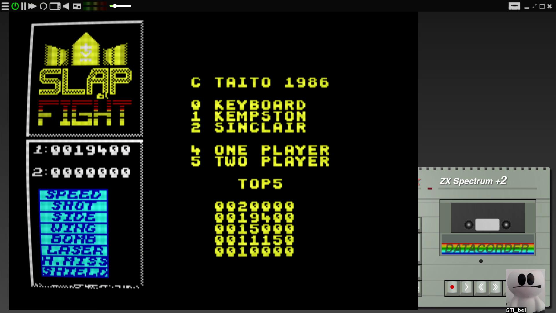 GTibel: Slap Fight (ZX Spectrum Emulated) 19,400 points on 2020-08-08 05:04:40