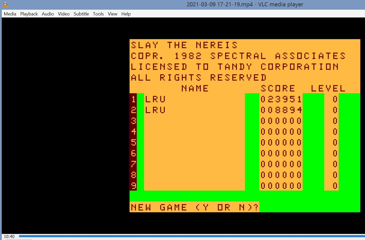 LuigiRuffolo: Slay the Nereis (TRS-80 CoCo Emulated) 23,951 points on 2021-03-09 11:34:24