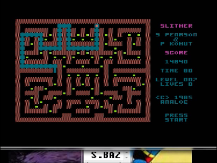 S.BAZ: Slither (Atari 400/800/XL/XE Emulated) 14,840 points on 2016-05-22 16:32:17