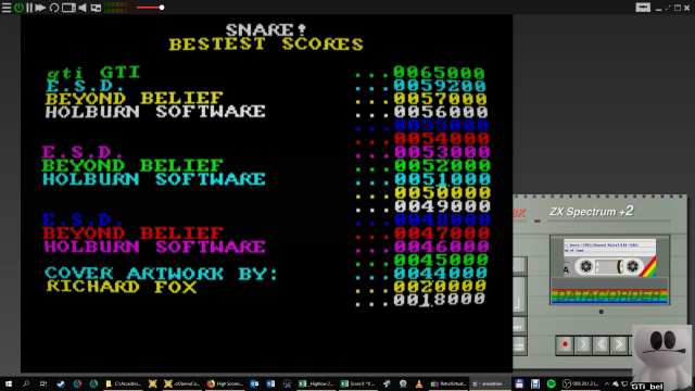 GTibel: Snare (ZX Spectrum Emulated) 65,000 points on 2019-01-25 10:36:32