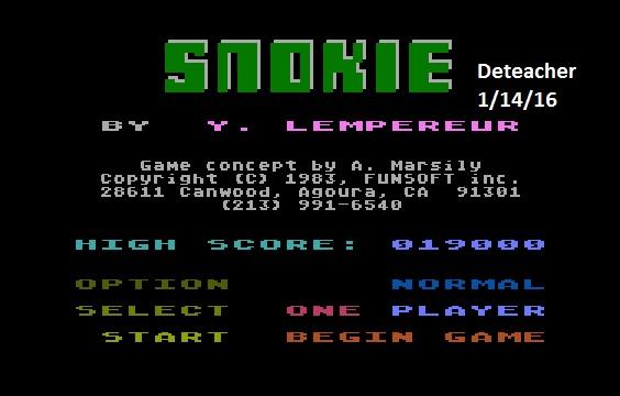 Deteacher: Snokie (Atari 400/800/XL/XE Emulated) 19,000 points on 2016-01-14 20:51:45