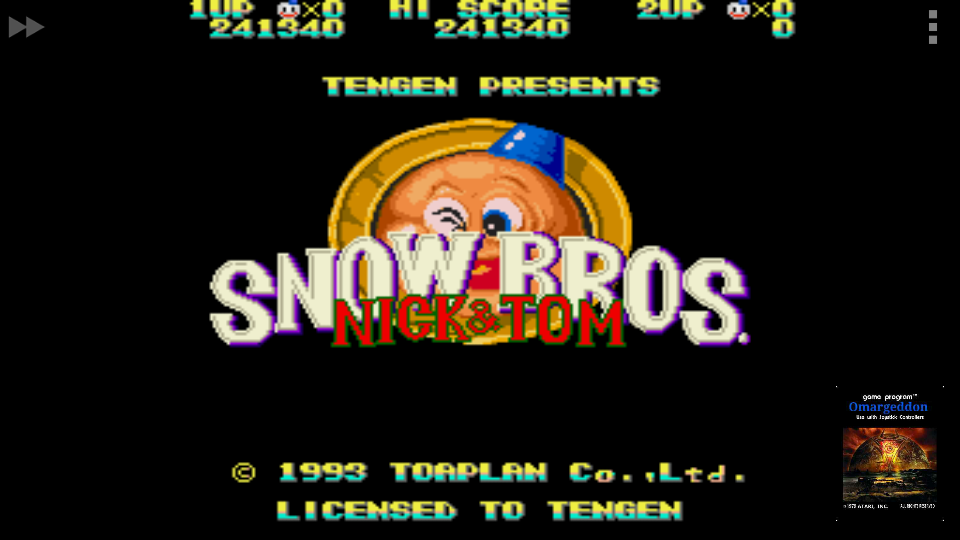 omargeddon: Snow Bros. [Easy] (Sega Genesis / MegaDrive Emulated) 241,340 points on 2017-11-11 18:03:16