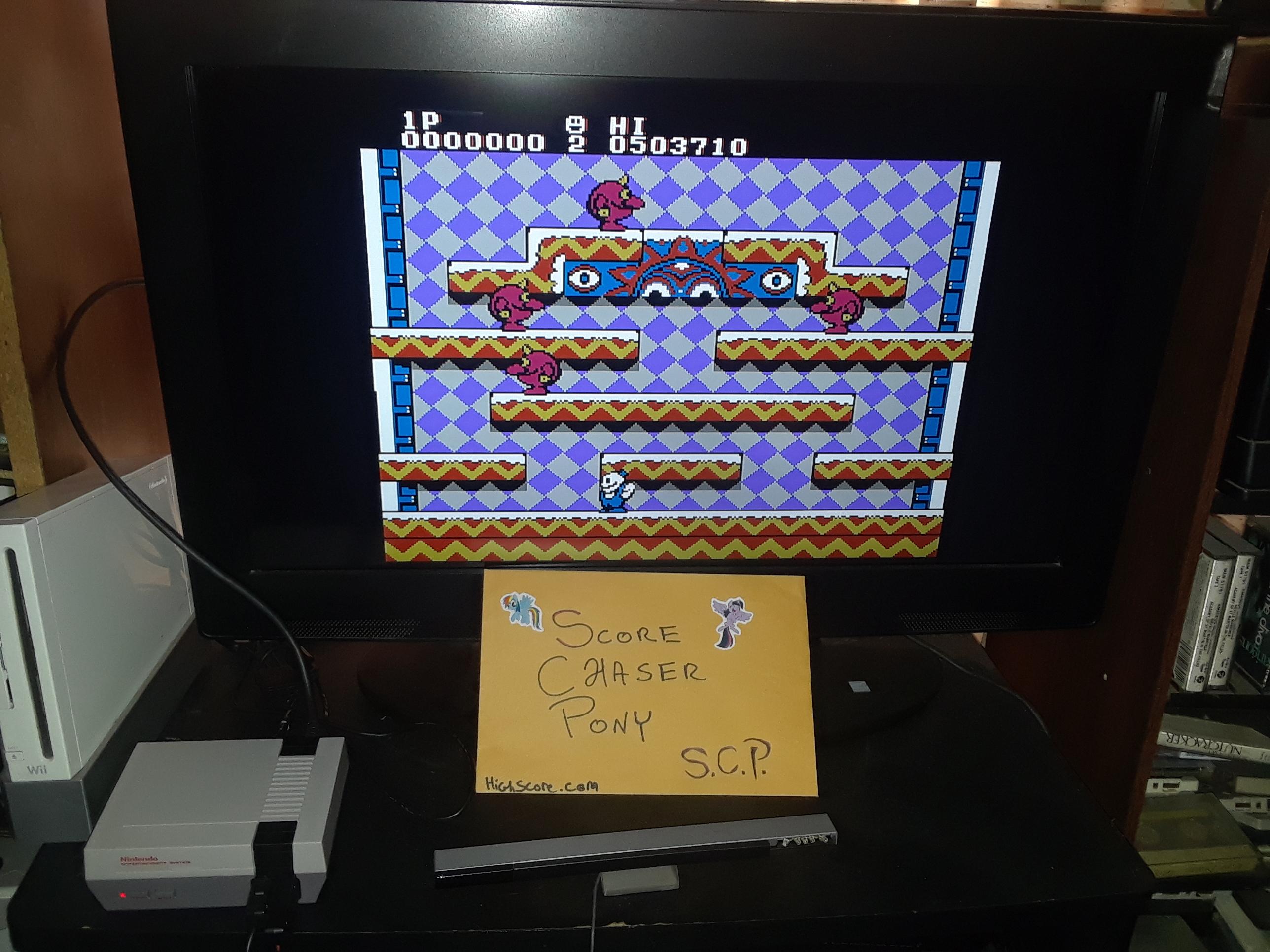 Scorechaserpony: Snow Bros. (NES/Famicom Emulated) 503,710 points on 2019-04-03 16:11:47