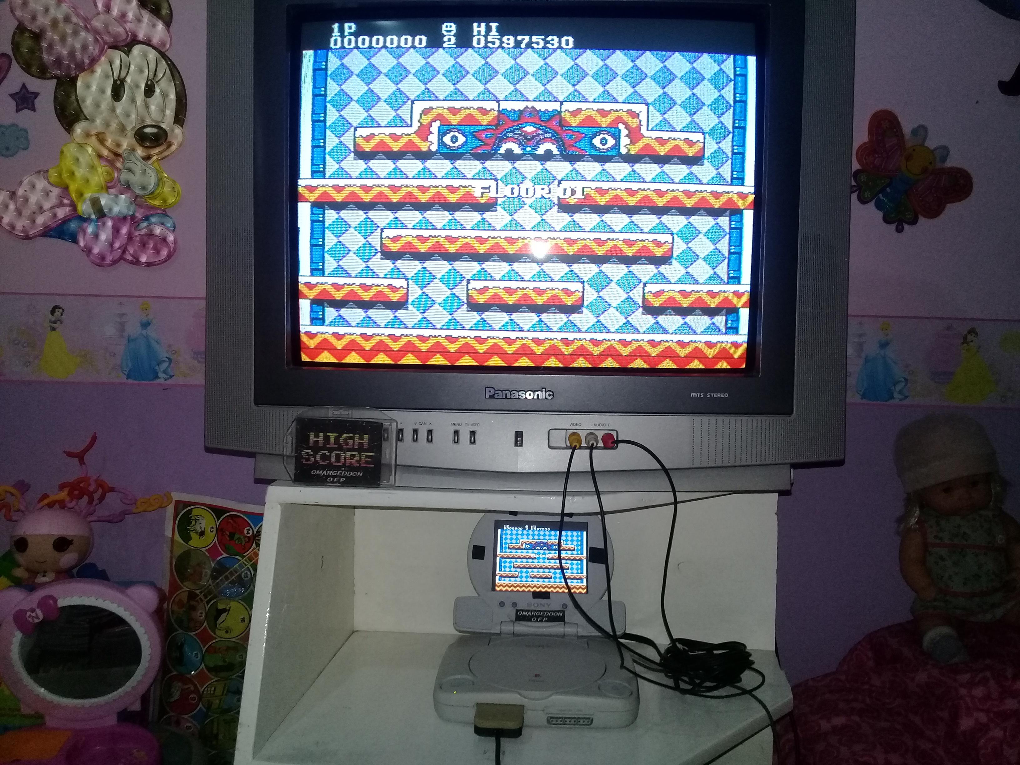 omargeddon: Snow Bros. (NES/Famicom Emulated) 597,530 points on 2019-07-14 13:50:43