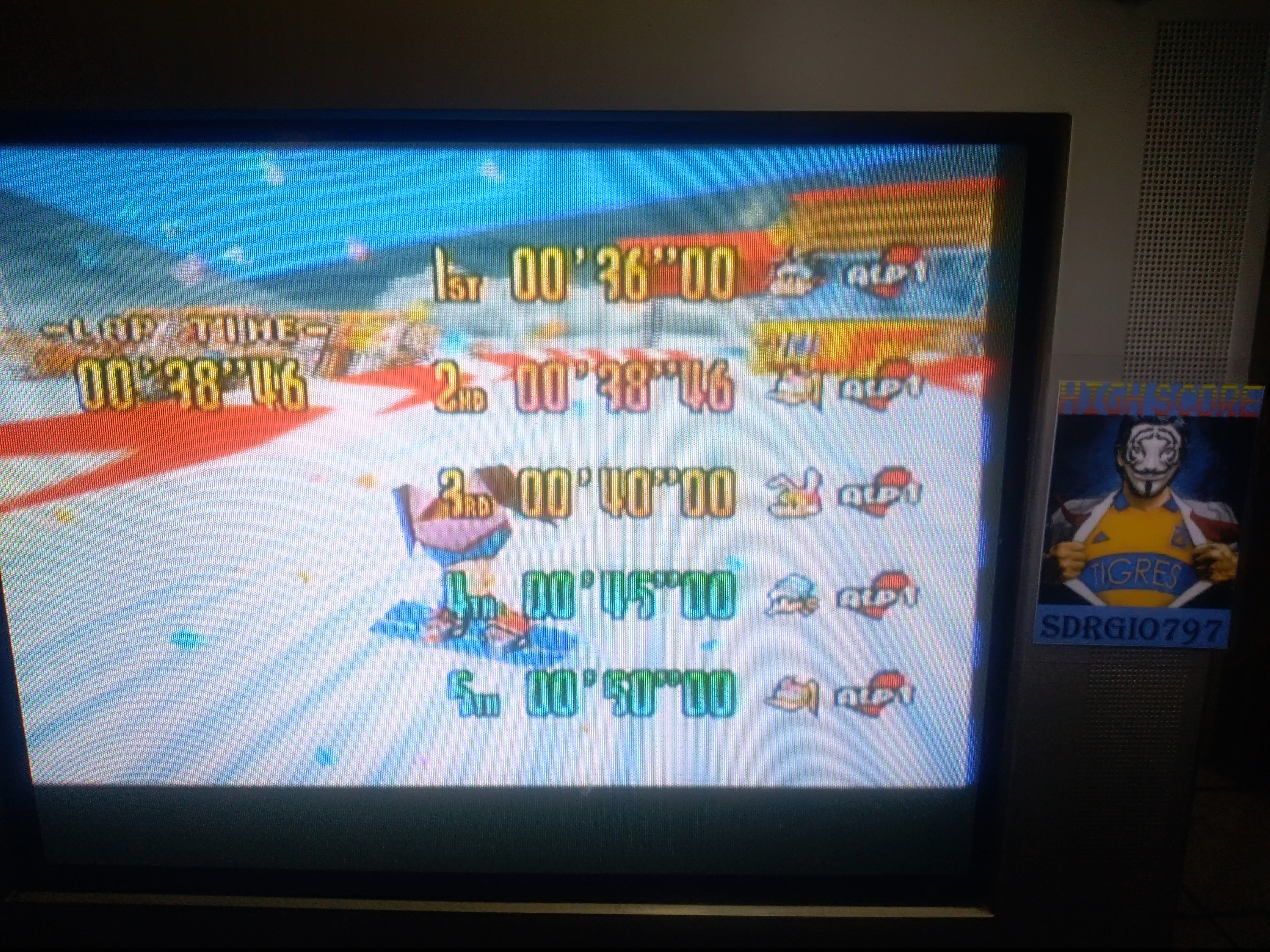 Sdrgio797: Snowboard Kids: Time Attack [Rookie MT./Fastest Lap] (N64 Emulated) 0:00:38.46 points on 2020-08-09 16:45:09